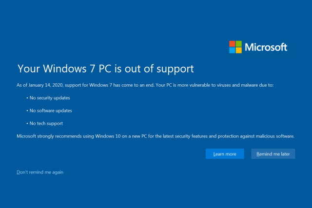 Your Windows 7 PC is out of support